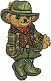 Embroidered female Polo Bear wearing olive skirt, hat, boots & plaid coat
