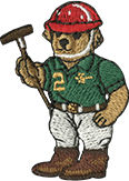 Embroidered Male Polo Bear wearing green Polo uniform & holding polo mallet