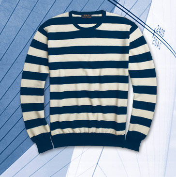 Navy-and-white striped sweater