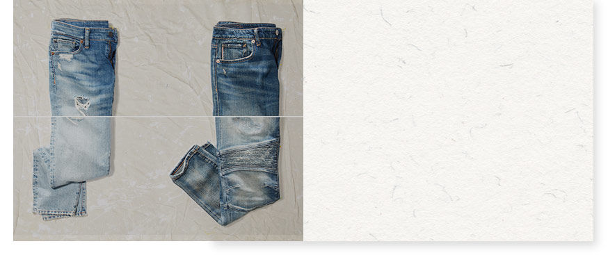 Two pairs of distressed jeans