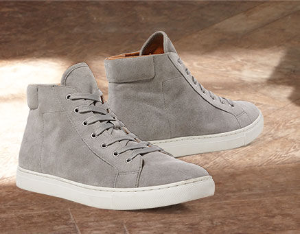 Pair of grey suede high-top sneakers