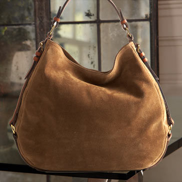Sand-colored suede hobo bag