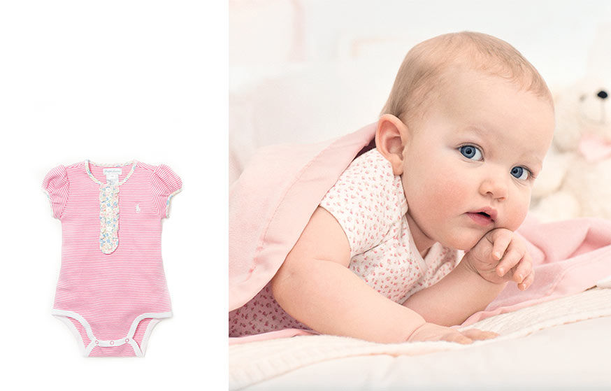 Left: pink striped shortall. Right: Baby in floral top lies under blanket