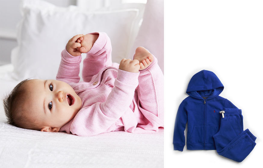 Left: Baby in pink coverall grabs her toes. Right: blue sweatpant and hoodie