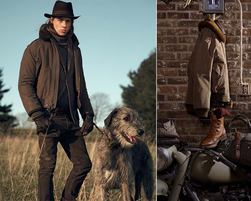 Man wears bomber jacket & brimmed hat; bomber jacket with merino shearling collar