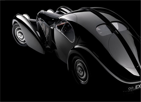 Ralph Lauren\u0026#39;s sleek, black Bugatti coupe.