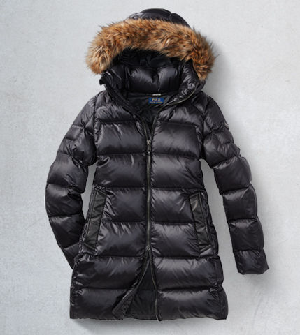 Black down jacket with faux fur–trim hood